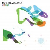 Abstract vector color map of Papua New Guinea with transparent paint effect.