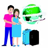 Illustration Of Happy Pregnant Couple Travel Around World Vector