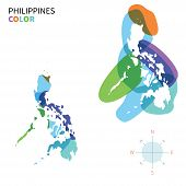 Abstract vector color map of Philippines with transparent paint effect.