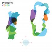 Abstract vector color map of Portugal with transparent paint effect.