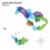 Abstract vector color map of Saint Barthelemy with transparent paint effect.