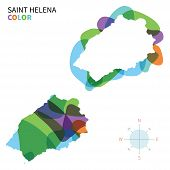 Abstract vector color map of Saint Helena with transparent paint effect.