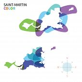 Abstract vector color map of Saint-Martin with transparent paint effect.