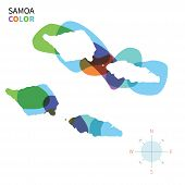 Abstract vector color map of Samoa with transparent paint effect.