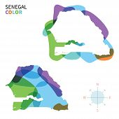 Abstract vector color map of Senegal with transparent paint effect.