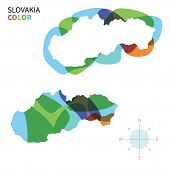 Abstract vector color map of Slovakia with transparent paint effect.