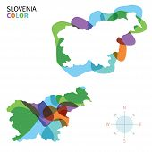 Abstract vector color map of Slovenia with transparent paint effect.