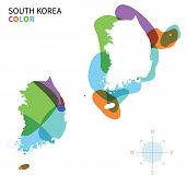 Abstract vector color map of South Korea with transparent paint effect.