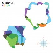 Abstract vector color map of Suriname with transparent paint effect.