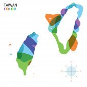 Abstract vector color map of Taiwan with transparent paint effect.