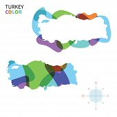 Abstract vector color map of Turkey with transparent paint effect.