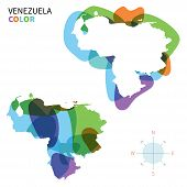 Abstract vector color map of Venezuela with transparent paint effect.