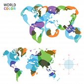 Abstract vector color map of World with transparent paint effect.