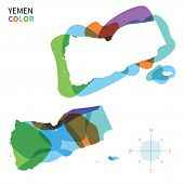 Abstract vector color map of Yemen with transparent paint effect.