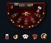 Disposición de las mesas poker Vector