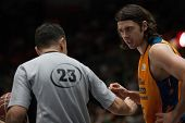VALENCIA, SPAIN - JANUARY 24: Referee talks with Loncar during Spanish League match between Valencia Basket Club and UCAM Murcia at Fonteta Stadium on January 24, 2015 in Valencia, Spain