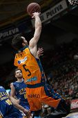 VALENCIA, SPAIN - JANUARY 24: Ribas with ball during Spanish League match between Valencia Basket Club and UCAM Murcia at Fonteta Stadium on January 24, 2015 in Valencia, Spain