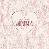 Vector mono line graphic design templates. Happy valentines day.