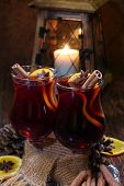 Mulled Wine With Addition Of An Orange, Honey, Cinnamon, A Carnation And An Anise
