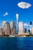 Manhattan skyline New York sunshine US blue sky