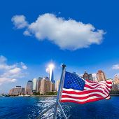 Manhattan skyline New York sunshine American Flag photomount