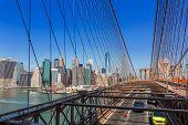 Brooklyn Bridge traffic and Manhattan New York City US USA