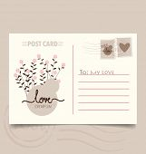 Romantic postcard design with flower background. Vector Illustration.