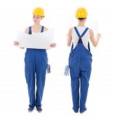 Front And Back View Of Woman Builder In Blue Coveralls Holding Building Plan Isolated On White