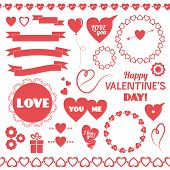 Set of vector elements for Valentines Day.