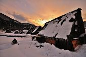 picture of farmhouse  - Sunset amidst preserved farmhouses at Shirakawago - JPG