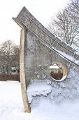 Sun Dial Sculpture Five Six In Snow Vallingby Sweden
