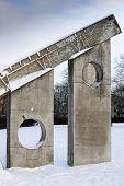Sun Dial Sculpture Six Seven In Snow Vallingby Sweden