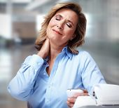 foto of human neck  - Business woman having a neck pain - JPG