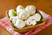 white fresh mushrooms with herbs, in the wooden bowl with fabric linen