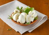 ceramic bowl with fresh mushrooms on the table with fabric linen