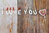 I Love You Words And Heart Shaped Decor On Wooden Background - Valentines Day