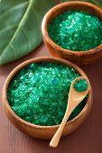 green herbal salt for healthy spa bath