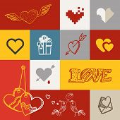Different abstract heart icons collection. Valentine greeting card