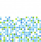 Blue green circles on white background. Vector design