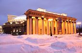 NOVOSIBIRSK, RUSSIA - JANUARY 10, 2015: Building of the Opera and Ballet Theater in a winter evening, It is the largest theatrical building in Russia