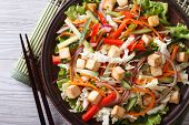 Japanese Tofu Salad With Fresh Vegetables Horizontal Top View