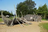 picture of viking ship  - wooden ornaments Park in Germany in the form of a Viking ship - JPG