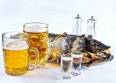 Fish, Beer Mugs And Dried Fish