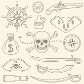 stock photo of pirate sword  - Hand drawn pirate seamless background - JPG