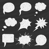 Vector Set of Chalkboard speech bubbles - Illustration