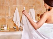 pic of bubble bath  - Woman relaxing at water in bubble bath - JPG