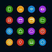 Different color interface icons set. Design elements