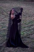 Young Widow Wearing Black Veil