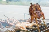 Grilled Chicken On The Grill Roadside