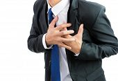 stock photo of dizziness  - businessman having heart attack isolate on over white background - JPG